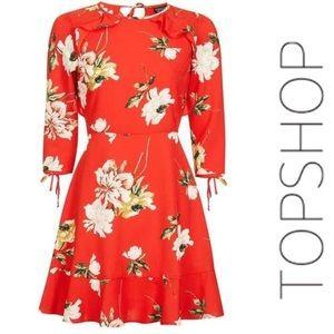 TOPSHOP Red Floral Tea Dress • 6